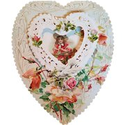 Victorian Large Valentine's Day Pop Up Card with Paper Lace