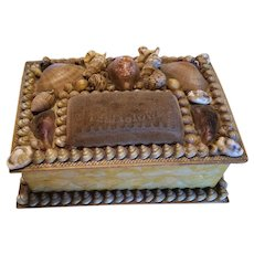 Victorian Shell Folk Art Sewing Box with Pin Cushion