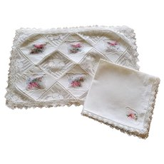 Vintage Set of 5 Army Navy Placemats & Napkins w/ Colored Embroidery 10 pieces