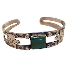 Fred Harvey Era Native American Green Turquoise Thunderbird Cuff Bracelet