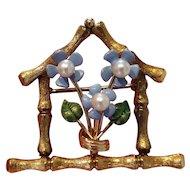 Vintage Krementz Pearl & Enamel Forget-Me-Not Flower Pin