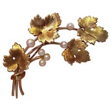 Vintage Krementz Grape Leaf and Cultured Pearl Pin