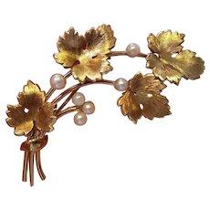 Vintage Krementz Grape Leaf and Cultured Pearl Pin