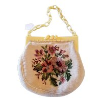 Vintage Celluloid Framed Needlepoint Purse