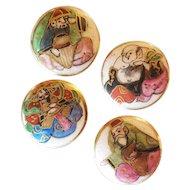 Set of 4 Vintage Satsuma Japan Buttons God of Good Fortune