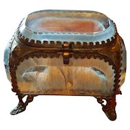 Antique French Beveled Glass Trinket Box Jewelry Casket