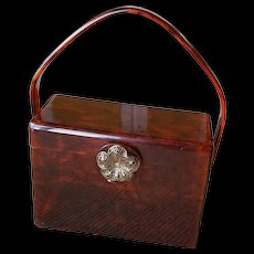 Vintage Wilardy Lucite Marbled Brown Box Purse with Metal Flower Clasp