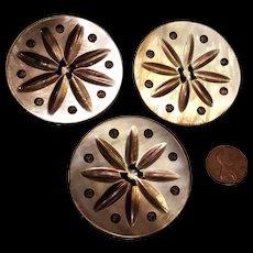 3 Huge Vintage Carved Mother of Pearl Buttons