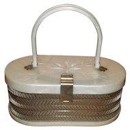 Vintage Pearl Lucite & Chrome Box Purse by MW Handbags USA