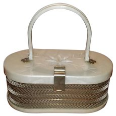 Vintage Pearl Lucite & Chrome Box Purse by MW Handbags USA