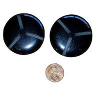 Pair of Huge Vintage Black Carved Bakelite Coat Buttons