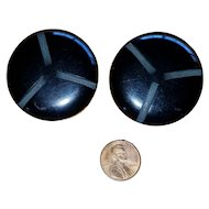 Pair of Huge Vintage Black Carved Bakelite Coat Buttons