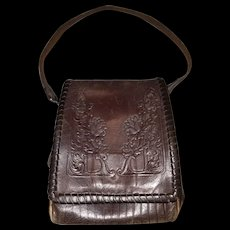 Arts & Crafts Hand Tooled Genuine Calf Leather Purse