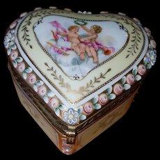 Vintage French Porcelain Heart Shaped Dresser Jar w/ Cherubs