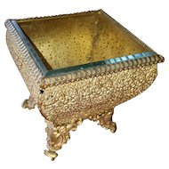 French Beveled Glass and Metal Filigree Footed Dresser Jewelry or Trinket Box