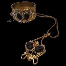 RARE Schiaparelli Black Cameo Enameled Griffin Necklace and Bracelet Set Unsigned Original Hang Tag