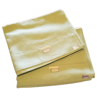 Pair of Irish Linen Hemstitched Mint Green Pillowcases Hand Thread Drawn 21 x 33 inches