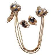 "Hobe ""Roaring Twenties"" 1957 Set Faux Pearl, Hematite, Rhinestone Chatelaine Sweater Guard Pin & Earrings"