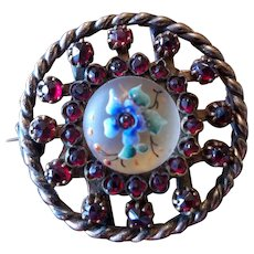 Victorian Bohemian Garnet & Enameled Camphor Glass Brooch