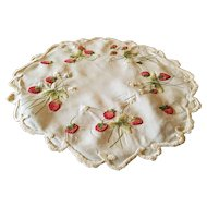 Antique Society Silk Hand Embroidery Strawberries Doilie or Centerpiece 13.5 inches