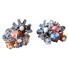 Vintage Signed Robert Rhinestone and Coral Glass Clip On Earrings