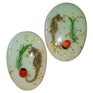 Vintage Lucite Earrings w/ Sea Horses Embedded & Glitter