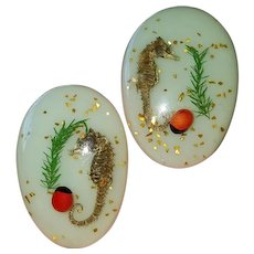 Vintage Lucite Earrings w/ Sea Horses Embedded & Glitter