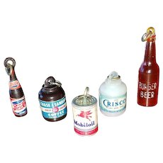 Vintage Advertising Plastic Charms Pepsi Bottle, Mobil Oil Can, Cisco Jar & Coffee Can