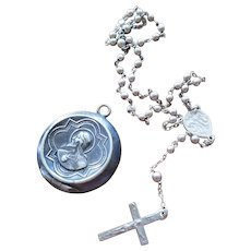 Vintage French Jesus Rosary Holder Container Box Pendant with Tiny Rosary Inside
