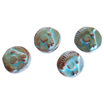 Four 1930s French Couture Glazed Ceramic Greek Horse Head Buttons