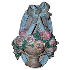 Cast Iron Hubley #124 Painted Flower Basket Door Knocker 1930s