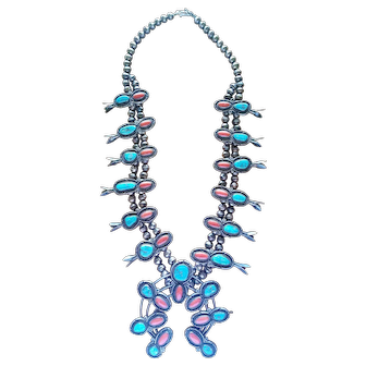 Vintage HUGE Native American Sterling Silver Squash Blossom Necklace Turquoise & Coral