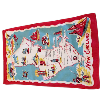 Vintage Souvenir of New England Printed Dish Towel Mine, N.H., Vermont, Mass., Conn., Rhode Island