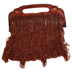 Art Deco Celluloid Bird Handled Seed Beaded Hand Bag Purse Flapper