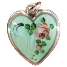 Vintage Walter Lampl Enameled Sterling Puffy Heart Charm
