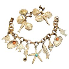 Vintage Sea Shell & Fish Sea Side Themed Charm Bracelet & Earrings Set
