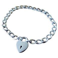 Vintage Walter Lampl Simple Sterling Heart Padlock Clasp Charm Bracelet