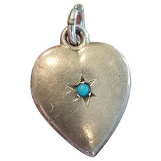 Vintage Sterling Puffy Heart Charm with Turquoise Stone and Engraving