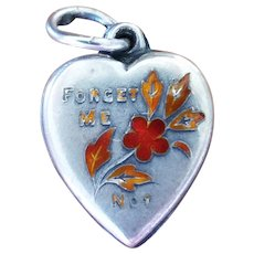 Vintage Puffy Heart Sterling And Enamel Forget Me Not