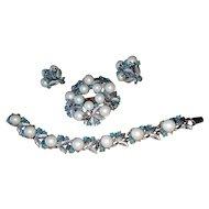 Vintage Sarah Coventry Alaskan Summer Parure Set Bracelet, Brooch, Earrings