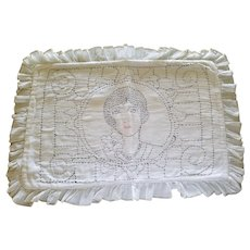 Vintage Boudoir Pillow Sham with Embroidered Flapper Lady