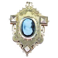 Victorian Etruscan Revival Hard Stone Cameo Gold-Filled Locket Pendant or Brooch