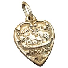 "Vintage Sterling ""Home Sweet Home"" Puffy Heart Charm"