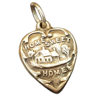 """Vintage Sterling """"Home Sweet Home"""" Puffy Heart Charm"""