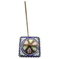 Victorian Italian Micro Mosaic Hatpin Hat Pin