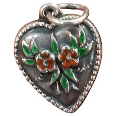 Vintage Sterling & Enamel Forget-Me-Not Flower Puffy Heart Charm
