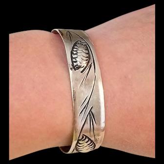 Vintage Stuart Nye Sterling Pine Cone Cuff Bracelet