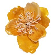 HUGE Vintage Yellow Cellulose Acetate Flower Brooch