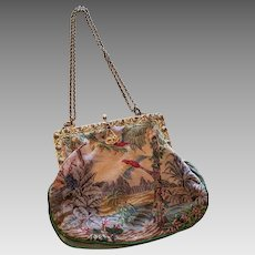 Victorian French Micro Petite Point Scenic Purse