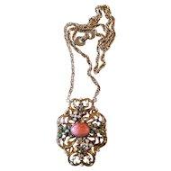 Vintage Hollycraft Jeweled Pendant Necklace
